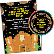 Fiesta theme Super Bowl party invitations